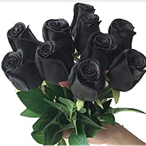 10pcs Real Touch Rose Simulated Fake Latex Roses 43cm for Wedding Party Artificial Decorative Flowers (black) 58