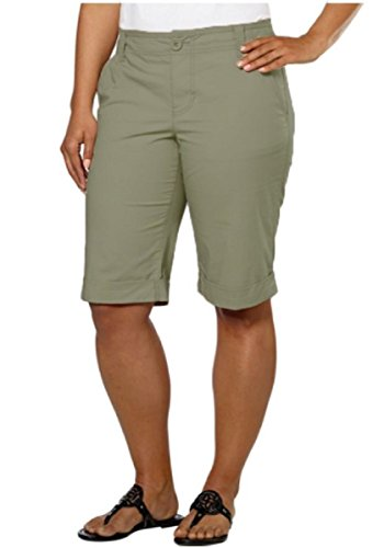 (DKNY Jeans Women's Bermuda Walking Shorts (2, Military Green))