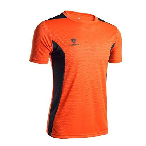 Price comparison product image Promotions! Mens JSPOYOU V-neck Short-sleeved T-shirt Workout Leggings Fitness Sports Gym Running Yoga Athletic Shirt (L3,  Orange)