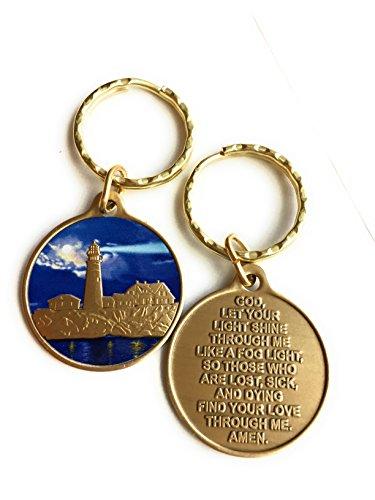 Lighthouse Medallion (Fog Light Prayer Color Lighthouse Keychain Bronze Step 12 Spiritual Medallion Key Chain)