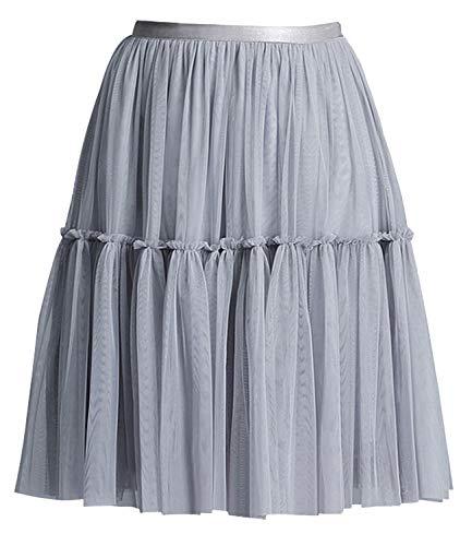 - Women's Floral High Waist Drawstring Ruffle Flared Boho A-Line Pleated Skater Mini Skirt (Mesh Gray, S)