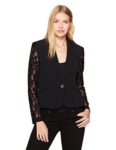 Nine West Women's Solid Crepe Jacket with Lace Sleeves, Black, 6