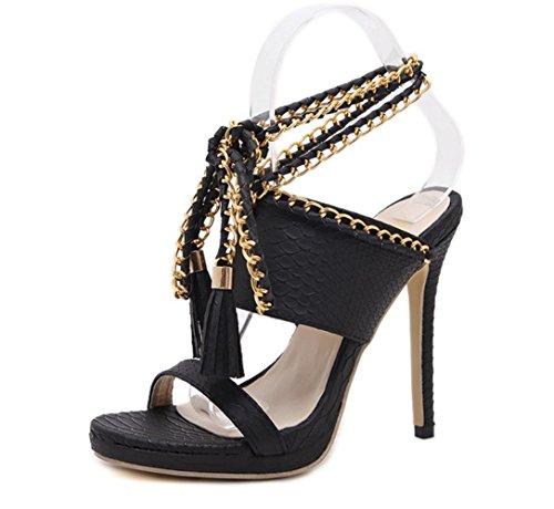 YCMDM donne alti pompa pigolio Temperamento fascia alta nappa piede ad anello dei pattini dei sandali romani Hollow Court Shoes , black , 37