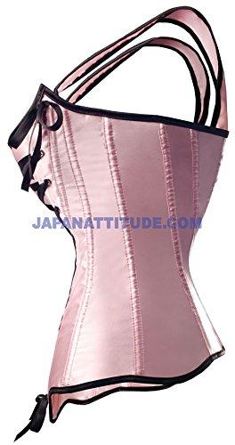 Corset rosa con laçages y tirantes, color negro negro