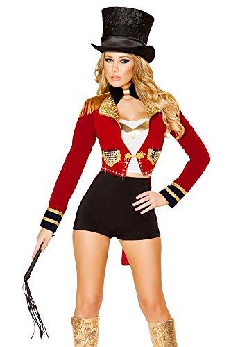 Roma Costume Women's 6 piece Seductive Circus Leader, Black/Red, Small