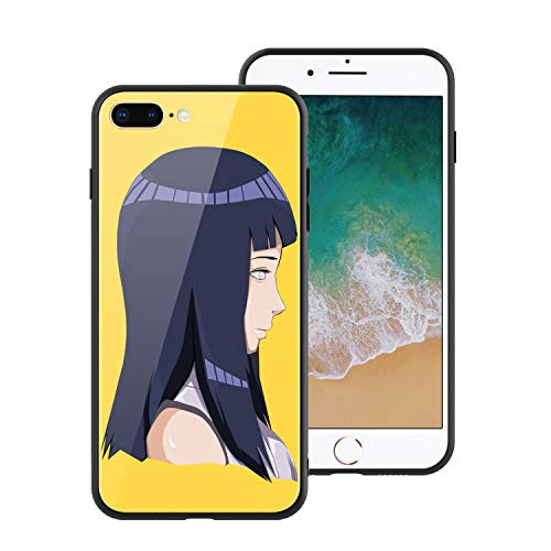 for iPhone7 Plus & iPhone8 Plus, Naruto 068 Design Tempered Glass Phone Case, Anti-Scratch Soft Silicone Bumper Ultra-Thin iPhone7 & 8 Plus Cover for Teens and Adults - Hinata Hyuga (Naruto Sage Of Six Paths Mode Rasengan)
