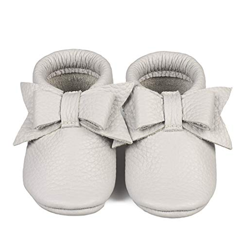 Baby Moccasins with Bow (Italian Leather) Soft Sole Shoes for Boys and Girls | Infants, Babies, Toddlers (XS | 6-9 mo. | 4.6