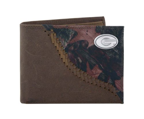 NCAA Georgia Bulldogs Camouflage Leather Bifold Concho Wallet, One Size