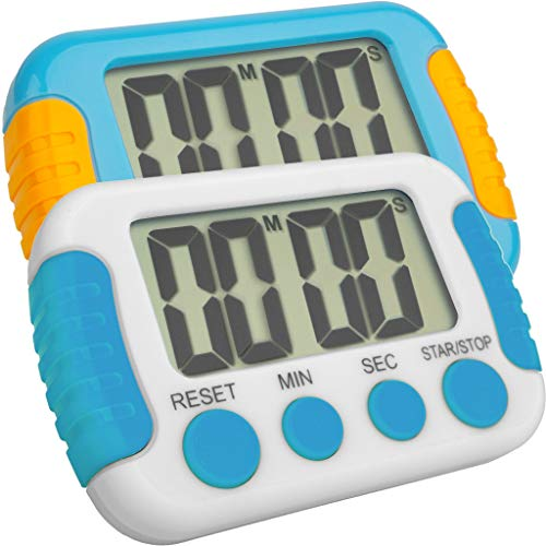 Classroom Or Meeting Timers for Kids and Teacher Digital Kitchen Timer, Count-Up & Count Down for Cooking Baking Sports Games Office Study (1 White 1 Blue)]()