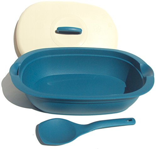 Tupperware Legacy Covered Serving Microwave Dish with Spoon in Peacock Blue by Tupperware