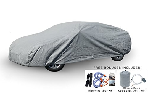 Weatherproof Car Covers For Dodge Challenger 2008-2018 - 5L Outdoor & Indoor - Protect From Rain, Snow, Hail, UV Rays, Sun & More - Fleece Lining - Includes Anti-Theft Cable Lock, Bag & Wind Straps
