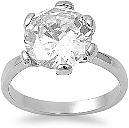 Round Cut Solitaire Cubic Zirconia Ring Stainless Steel