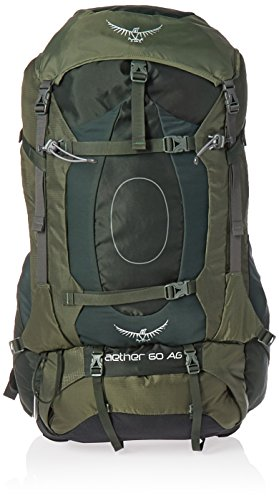 Osprey Packs Aether AG 60 Men's Backpacking Backpack, Adirondack Green, Medium