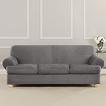 Sure Fit Ultimate Heavyweight Stretch Suede Slipcover (Slate Gray, 3 Piece  T Cushion