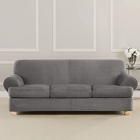 Lovely Ultimate Heavyweight Stretch Faux Suede 3 Separate T Cushioned Sofa  Slipcover