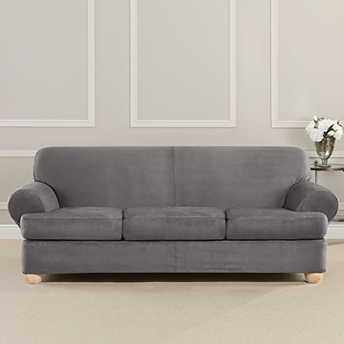 Sure Fit Ultimate Heavyweight Stretch Suede Slipcover (Slate Gray, 3 Piece T-Cushion Sofa)