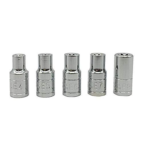 XT AUTO 5pcs E Torx Star Bit Female Socket Set Automotive Shop Tools 1/4 inch Drive E4 E5 E6 E7 E8