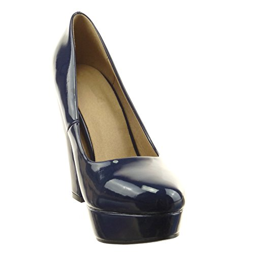 de Azul escarpín patentes Tacón Zapatillas ancho CM Talón plataforma zapatillas 12 brillantes decollete mujer Moda Sopily Tacón alto de Tobillo qAI5wn