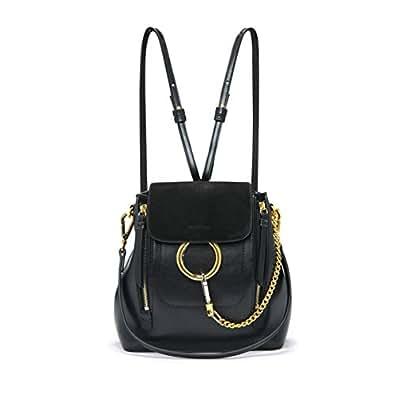 FairyBridal Women Real Leather Satchel Cross Body Handbags,Backpack 3 Colors (black2)