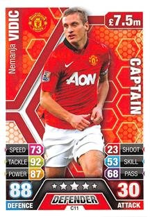 Match Attax Extra 2013/2014 Nemanja Vidic Manchester United Club Captain 13/14