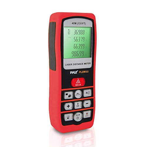 Pyle PLDM22 Handheld Laser Distance Meter with Backlit LCD Display and Direct/Indirect Volume/Area Measuring