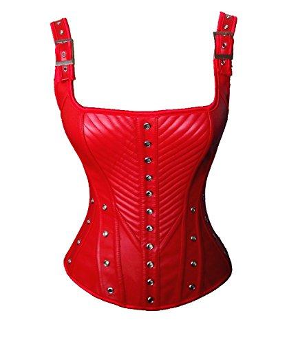 ZAMME Cinturón de cuero de la hebilla de Overbust de la hebilla del arnés del Faux de las mujeres Rojo