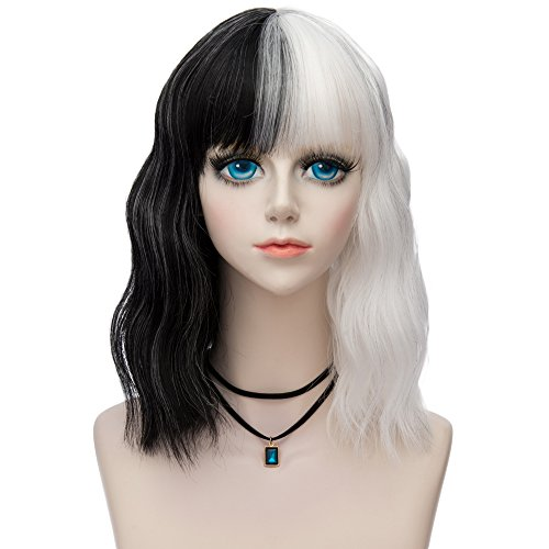 Probeauty Halloween Collection 75cm Mix Color Gothic Long Curly Wavy Ombre Hair Synthetic Cosplay Wig+Cap (40cm Full Bangs Curly Black Mix White) ()