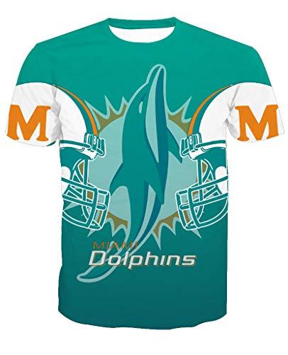leeve3D Print Miami Dolphin Football Team Summer T-Shirts(3XL,Blue) ()