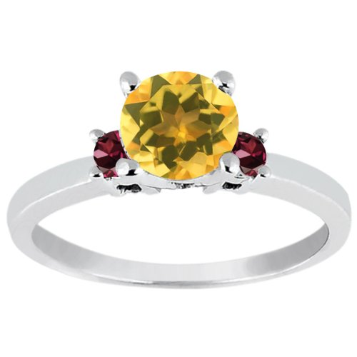0.88 Ct Round Yellow Citrine Red Rhodolite Garnet 925 Sterling Silver Ring