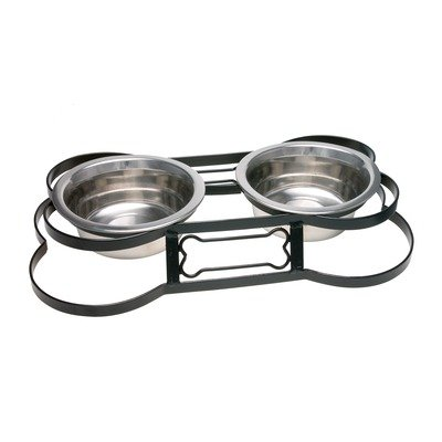 Loving Pets Santa Fe Wrought Iron Bone-Shaped Double Diner Dog Bowl, 1-Quart, My Pet Supplies