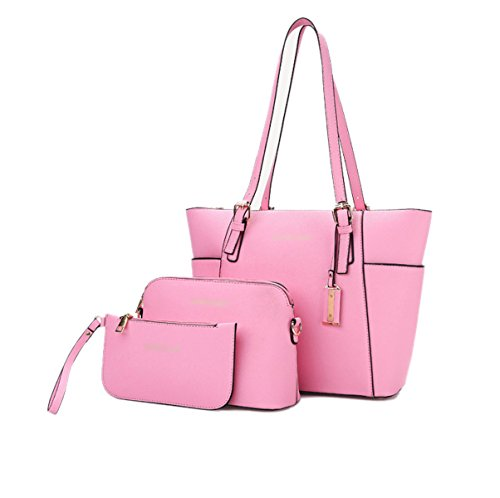 Mujer Nuevo Compuesto Bolsa De Tres Piezas Traje Europa Y Estados Unidos Bolsos Moda Patrón Cruz PU bolso Bolsa Pink