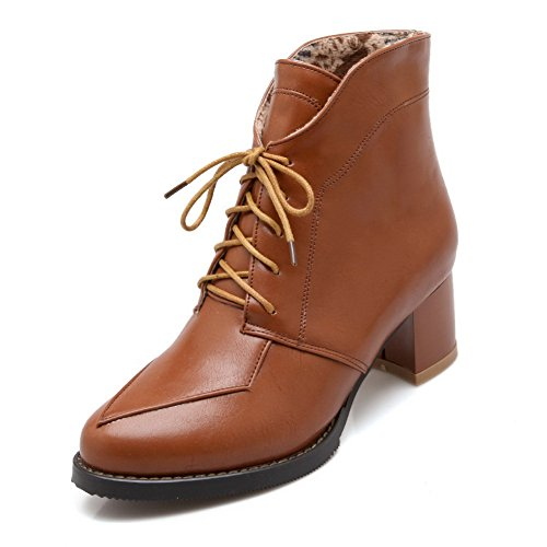 BalaMasa Ladies Bandage Thread Solid Imitated Leather Boots Brown EumB2pCljp