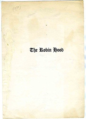 The Robin Hood Restaurant Menu 1939 (Dinner Robin Hood)