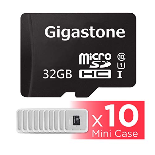 Gigastone Micro SD Card 32GB 10-Pack Micro SDHC U1 C10 with Mini Case High Speed Memory Card Class10 Uhs Full HD Video Nintendo Gopro Camera Samsung Canon Nikon DJI Drone- Black ()