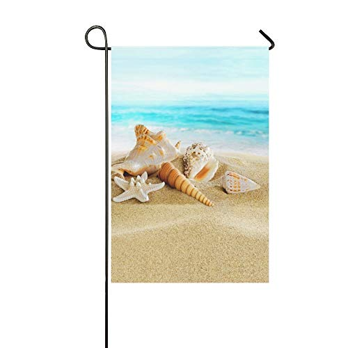 QQshiqI Fashion Custom Garden Flag Starfish Seashell Sandy Beach Sea Garden Flag 12.5 x 18 IN Without Flagpole Outdoor Celebrating Holidays Decor ()