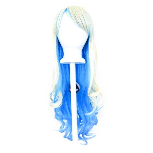 Nia - Flaxen Blonde and Sky Blue Wig 30'' Long Curly Cut w/ Long Bangs