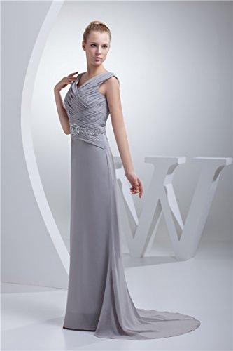 Angel Formal Dresses Women's V Neck Court Train Chiffon Dress (8, Sliver)
