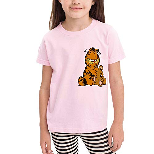 Girl Casual Children's Short Sleeve Garfield- 4T Pink ()