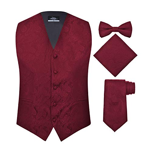 S.H. Churchill & Co. Men's 4 Piece Paisley Vest Set, with Bow Tie, Neck Tie & Pocket Hanky - S, Burgundy