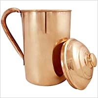 GreenTree Pure Copper Jug Pitcher Yoga Ayurveda Healing - 1500 ml (22x12 cms)