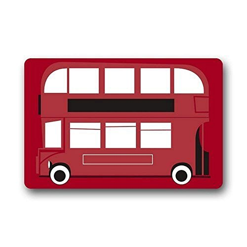 (Keke's Home Red London Bus, Polyester Front Door Mat Welcome Doormat for Home, Indoor, Entrance, Kitchen, Patio, Entry,)