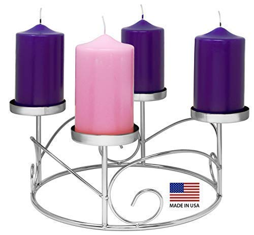 Christmas Advent Wreath Ring Candle Holder for Pillar Advent Candles -Silver - Advent Season X-mas Advent Candle Centerpiece Decor - Advent Calendar Decoration