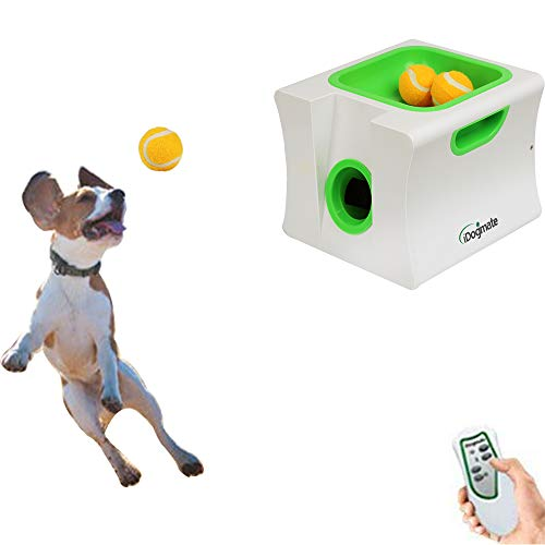 IDOGMATE Automatic Ball Launcher Dog Toy, Ball Thrower for Small Dog (Small Machine with 3 Balls) (Fetch Puppy Machine)