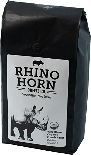 Rhino Horn Coffee – 100% Sustainable Organic Coffee Beans – USDA Certified, Dark Chocolate Whole Ground Coffee, Freshly Roasted in California, Succulent Hint of Clean Floral Accents (French Roast) Review
