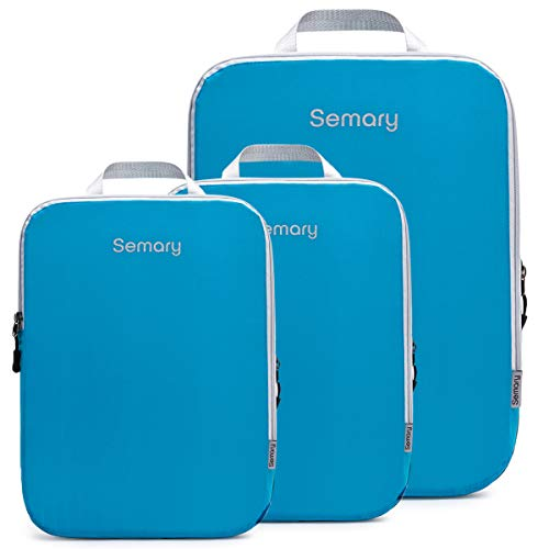 Compression Packing Cubes 3 Set Travel Organizer Accessories for Carryon Luggage Suitcase & Backpack by Semary-U7HTBAG001-Blue-Set 3