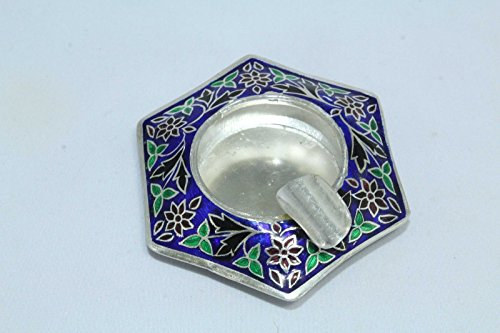 Rajasthan Gems India Blue Enamel Cloisonne Work On 925 Sterling Silver Ash Tray Stamped 36.0G (Sterling Ashtray)