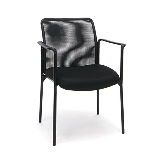 Essentials Mesh Upholstered Stacking Guest/Reception Chair with Arms - Modern Stackable Office Chair (Stacking Guest Chair)