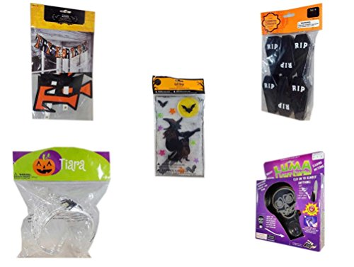 Halloween Fun Gift Bundle [5 piece] - Trick or Treat Banner 42.5 x 5 Inches - Tombstone Containers Party Favors 6 Count - Gel Clings Witch, Bats, Stars - Halloween Spider Tiara - Halloween Luma Ligh