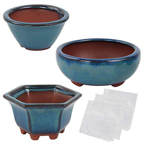 kilofly Happy Bonsai 3pc Small Glazed Pots Value Set + 3 Soft Mesh Drainage Screens ()