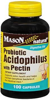 Mason Vitamins Acidophilus with Pectin 100 Capsules per Bottle Pack of 4 Total 400 Capsules